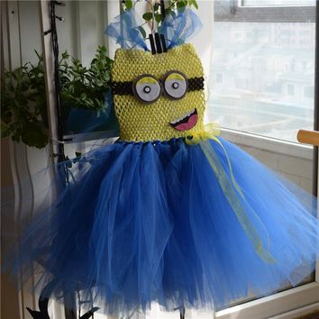 Minion Tutu Dress Costume Birthday Girl Dress Halloween Despicable Tutu Girl Dress