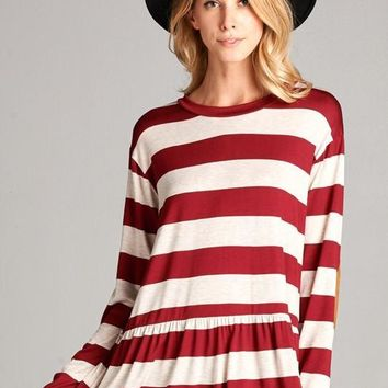 Striped Long Sleeve Peplum Top