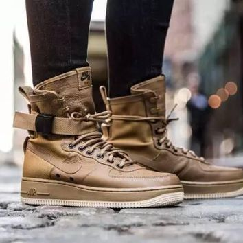 Nike Air Force 1 High Tops Af1 Brown For Women Men Running Sport Casual Shoes Sneakers
