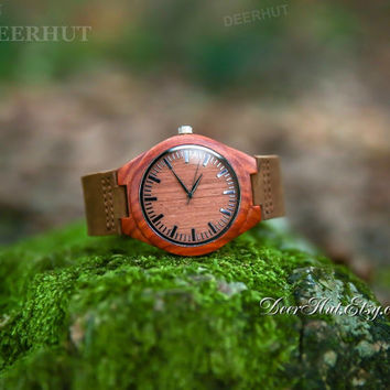 Mens Simple Wooden Watches | Engraved Bamboo Red Sandlewood Wrist Watch Personalized Genuine Leather Strap Watch Gifts For Him Groomsmen