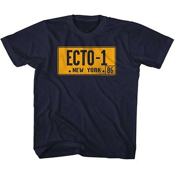 The Real Ghostbusters Kids T-Shirt Ecto 1 License Plate Navy Tee
