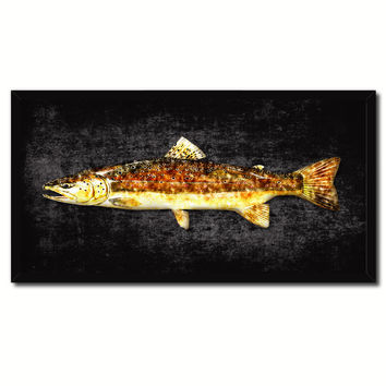 Brown Trout Fish Art Black Canvas Print Picture Frames Home Decor Nautical Fisherman Gifts
