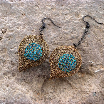 Valentines Gift, Nature Inspired Wire Crochet Jewelry, Chunky Long Earrings, Knitted Beads Chic Jewelry Gunmetal and Blue
