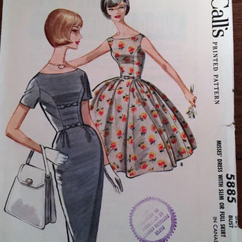 """Vintage McCall's Sewing Pattern 5885 for """"Misses Dress With Slim or Full Skirt"""" From 1961 / Size 12 Bust 32"""