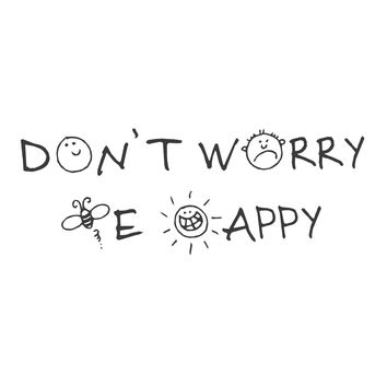 """wall quotes wall decals - """"Don't Worry Be Happy"""""""