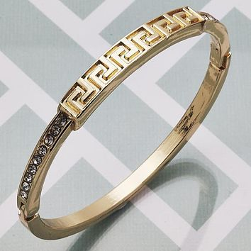 Gold Layered Women Greek Key Individual Bangle, with White Crystal, Size 4 - 2.25 Diameter by Folks Jewelry