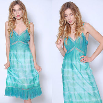 Vintage 60s Green TIE DYE Slip Dress Vintage LACE Slip Vintage Lingerie Tie Dye Dress Vintage Green Slip