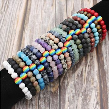 Rainbow Bracelet for Women and Men 8mm Natural Stone LGBT Pride Strand Couple Bracelets Handmade Jewelry MBR180167