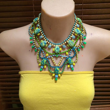 FRESH JIVE green, yellow, turquoise  and blue with neon tones hand painted rhinestone statement bib necklace