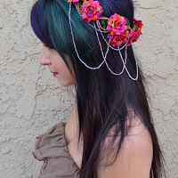 Burgundy Rose Crown #D1005