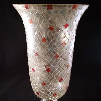 Large Mosaic Vase Clear Iridescent and a Smidge of Red Tiles