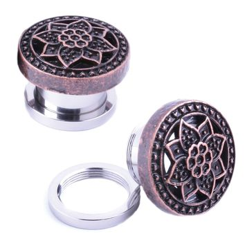 BodyJ4You Plugs Ear Gauges Rose Gold Tribal Flower Lotus Screw Fit 14mm Piercing Jewelry