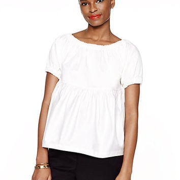 Kate Spade Cotton Sateen Tiered Top Fresh White