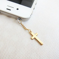 Simple Gold Cross iPhone Earphone Plug Dust Plug - Cellphone Handmade Accessories