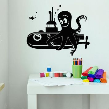 Vinyl Wall Decal Cartoon Octopus Submarine Sea Style Children's Rooms Stickers (2186ig)