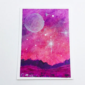Landscape ACEO, Original Galaxy Acrylic Painting, Artist Trading Card, Night Sky Art