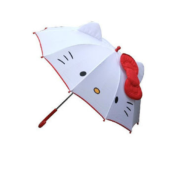 Cartoon Hello Kitty children anime umbrella for kids girl cute umbrella baby white umbrella