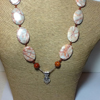 Red Jasper and Redline Marble necklace with sterling silver pendant
