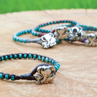 Turquoise Beaded Elephant Bracelets Handmade Gift For Her Bracelets Idea Mom Daughter Jewelry Cuff Bracelets - Dark Brown