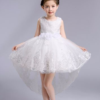 Toddler Baby Flower Girls Dress Long Trailing Wedding Evening Party Girls Vestido Princess Formal Children Clothing Kids Costume