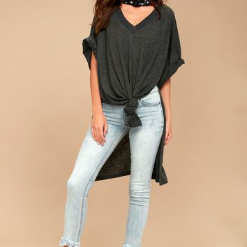 Free People City Slicker Dark Grey Tunic Top