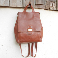 Vintage Leather Bag Brown KAWANO JAPAN Leather Backpack for Women / Small - Medium / Made in Italy