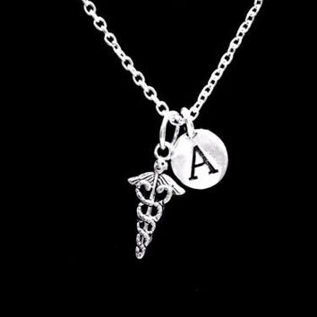 Initial Caduceus Medical Symbol Nurse Doctor Paramedic Graduation Gift Necklace
