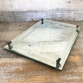 Vanity Mirror Tray Large Dresser Mirror Rectangle Dresser Tray Art Deco Mirrored Tray Glass Tray Glass Rod and Brass Mirrored Tray