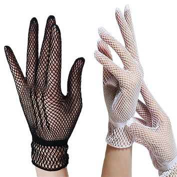 Fishnet Gloves Women Summer UV-Proof Driving For Thin Gloves Mesh Black White