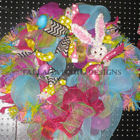 Easter Spring Deco Mesh Wreath Easter Bunny Wreath Easter Wreath Easter Decoration