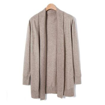 Cardigan Women 2018 Spring Autumn High Quality Pure Mink Cashmere Open Stitch Fashion Loose Casual Sweaters Outwear Coat