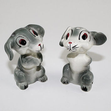 Vintage Pair of Cute Dogs Salt and Pepper Set, Made in Japan