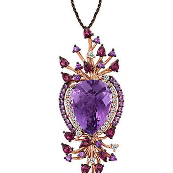 Levian Multicolor Amethyst Pendant in 14 Kt. Strawberry Gold