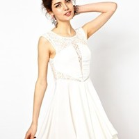Ginger Fizz Skater Dress With Lace Insert at asos.com