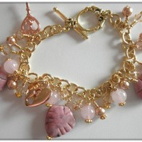 Handmade Rhodochrosite,Rose Quartz,and Rose Gold Charm Bracelet