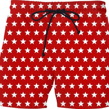 White regular stars on red background, geometric pattern, vector starc saturated color