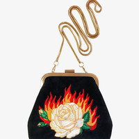 Flaming Rose Velvet Purse