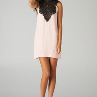 Pink Sleeveless Mini Dress with Lace Front Detail&Tie Back