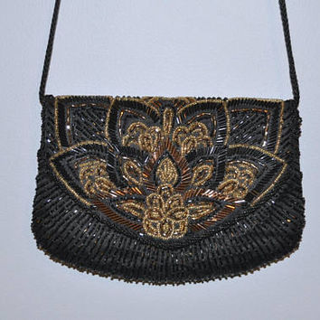 La Regale Ltd. Vintage Evening Bag Black and Gold Beaded Clutch Purse Small Mini Bag Black Never Worn Tag Attached Long Strap