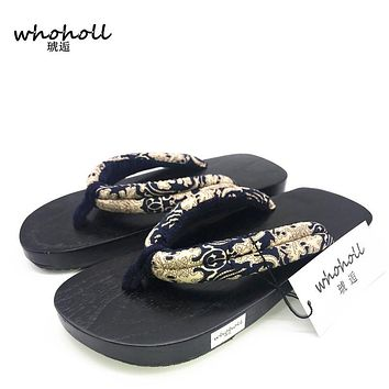 WHOHOLL Man flip-flops summer couple Japanese wooden geta sandals clogs wooden slippers men slippers platform flat shoes man