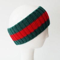 GUCCI STRIPE Pure Wool Knit Knitted Stripe Splicing Headwrap Headband Warmer Head Hair Band
