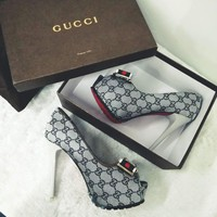 GUCCI Fashion Print High Heels Open-Toed Bow Shoes G