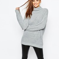 Daisy Street Chunky Roll Neck Sweater Curved Hem
