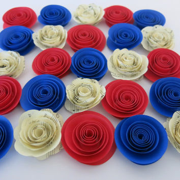 "Patriotic Home Decor, 25 paper flowers, 1.5"" roses, red blue and white sheet music rosettes, American Wedding decoration, Table scatter, USA"