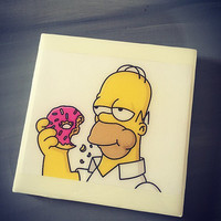 The Simpsons TV Show Ceramic Tile Drink Coaster; Homer Simpson; Donut; Universal; House Warming Gift; Funny Gift; Home Decor; Coffee Coaster
