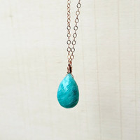 Natural AA, Blue-Green Amazonite Briolette Pendant with Shimmering Silk and Micro-Faceting, in 14k Rose Gold Fill, Gemstone Pendant, Gift