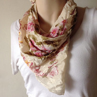 Butterfly Flower Scarf - Pink & Green Floral Handkerchief Square - Hair or Neck Accessory - Spring Fashion