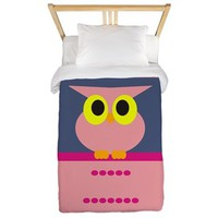 Cute pink owl big eyes Twin Duvet> Owl Duvet Covers> Duvet Covers