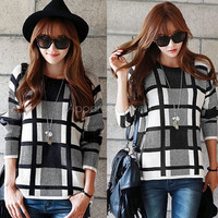 Fashion Women's Long Sleeve O-Neck Grid Pattern Knitting Pullover Loose Casual Sweater Top = 1945813252