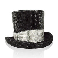 Judith Leiber Topper Crystal Top Hat Minaudiere, Jet/Multi